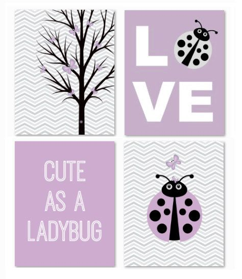 Printable Lavender purple and gray chevron butterfly and ladybug picture set only $17!