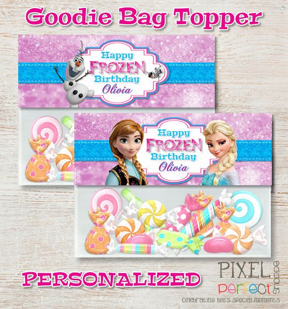 2 PERSONALIZED FROZEN Treat Bag Topper by PixelPerfectShoppe
