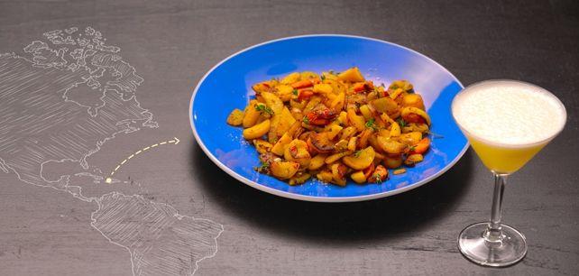 Batata-Doce salteada com especiarias acompanhada com Daiquiri de ananás no Continente ChefOnline - chef.continente.pt
