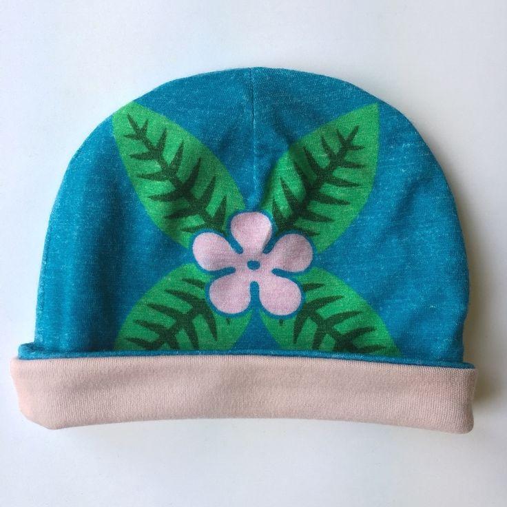 SUMMER SALE | 0-3 months | frangipani | aqua | merino baby beanie