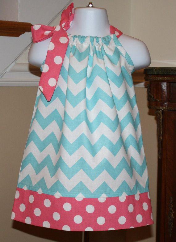 aqua blue spring chevron Pillowcase dress riley by BlakeandBailey, $19.99
