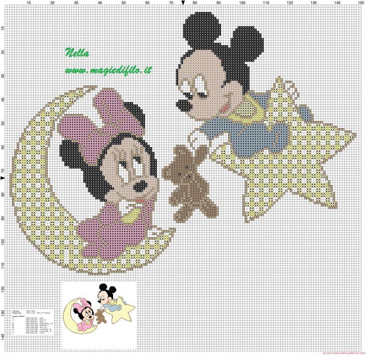 bebé Minnie y Mickey Mouse en la luna y estrella