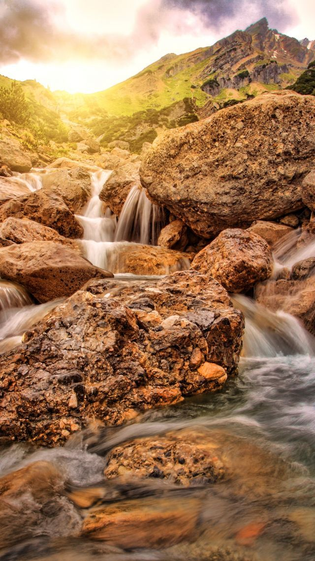 Download Wallpaper Waterfall Alpine 4k Nature Editing Background Hd Waterfall And Share It With More People Who Ne Waterfall Nature Landscaping With Rocks