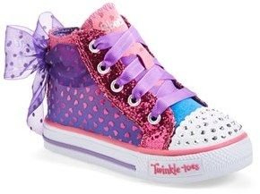 SKECHERS 'Twinkle Toes Shuffles - Pixie Bunch' Light-Up High Top Sneaker (Walker & Toddler)