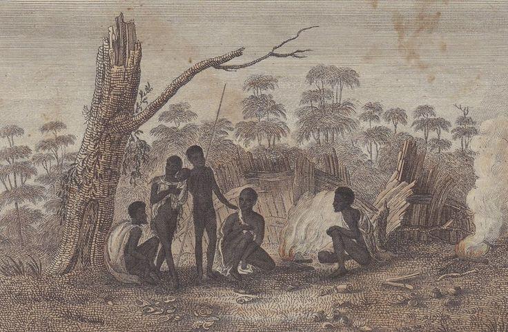 Etching: Van Diemens Land, Tasmania Aboriginal/ Convict print. Some of my Wife's Gullian ancestors were in Van Diemens Land in the early 1810's to 1850's