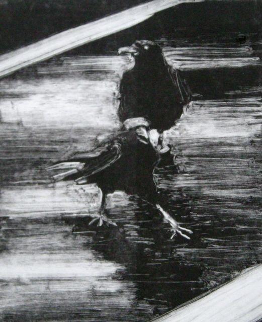in plein air:  Crows monotype print