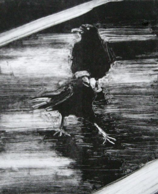 in plein air:  Crows monotype print