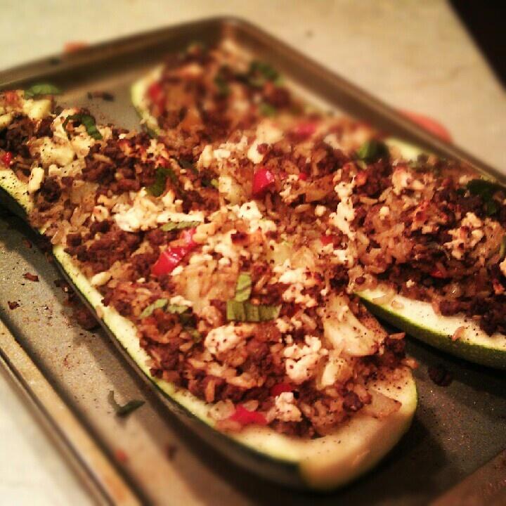 Roasted Zucchini Stuffed with Ground Beef, Feta & Fresh Basil # ...
