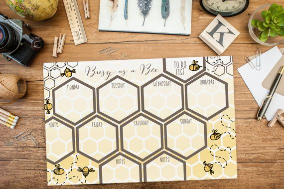 Busy as A Bee Weekly Planning Desk Pad by FeatheredHeartPrints
