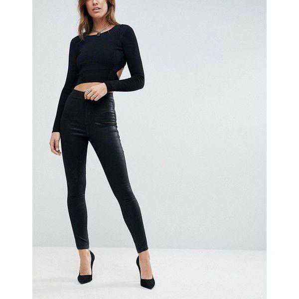 ASOS RIVINGTON High Waist Denim Jeggings in Black Coated (375 NOK) ❤ liked on Polyvore featuring pants, leggings, black, high waisted jean leggings, high waisted shiny leggings, shiny leggings, high-waisted leggings and skinny jeggings