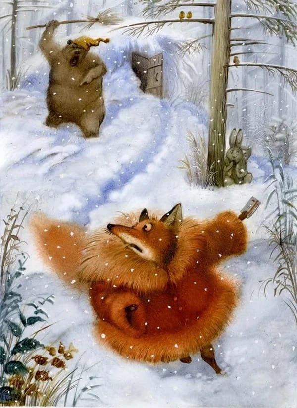 Медведь и лиса прикольные картинки