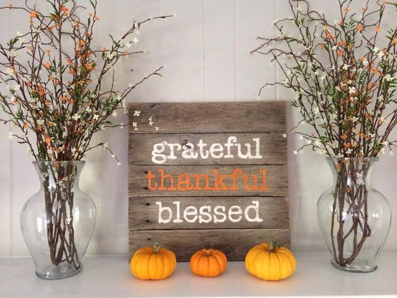 Rustic hand painted wood sign for Thanksgiving: