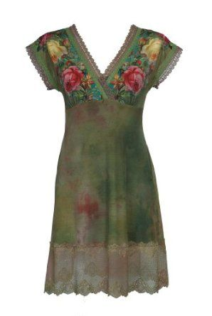 Admirable Cap Sleeves Gradient Green Mini Dress Beautifully Designed by Michal Negrin with Roses Print Accented with Swarovski Crystals and Lace Trim