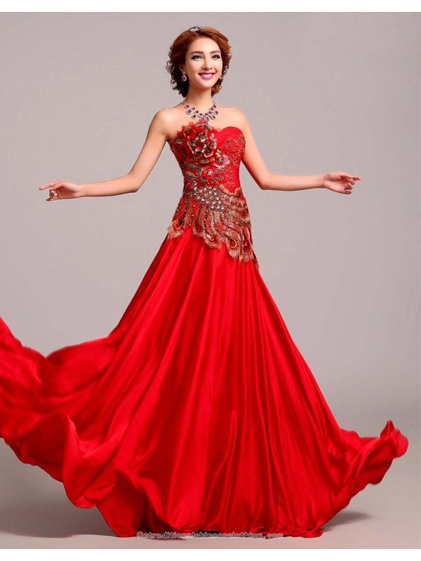 Chinese Red Embroidery Phoenix Beading Long Bridal Wedding Gown Red Chinese Wedding Dress Red Wedding Dresses Wedding Dresses From China,50 Year Old Wedding Dress