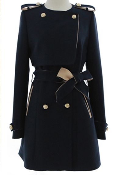 Tailored Navy Double-breasted Trench Coat Outerwear! Love it! #navy #trench_coat #fashion