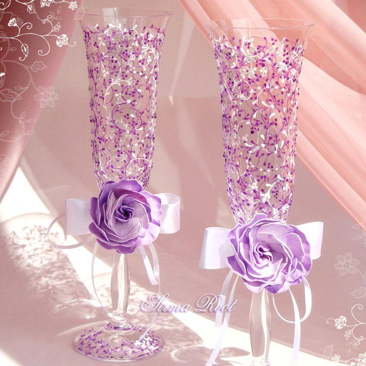 Купить Свадебные Бокалы Лавандовая Нежность - сиреневый, лавандовый, свадьба, свадебные бокалы, розы
