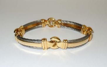 Philippe Charriol 18k Gold & Stainless Steel 10mm Cable Bracelet
