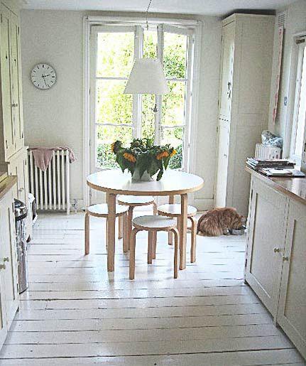 painted wood floors: Paintings Wood Floors, Beach Houses, Small Kitchens, White Wood Floors, Galley Kitchens, Beaches Houses, White Floors, Paintings Floors, White Floorboards