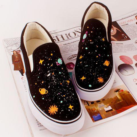 Harajuku colorful galaxy hand-painted students canvas shoes