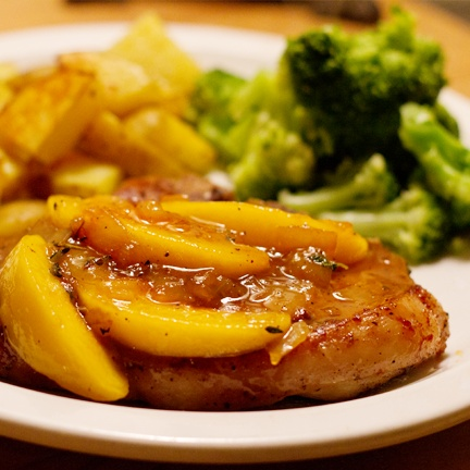 Pork chops in the crock pot: 6-8 boneless porkchops 2 lg can