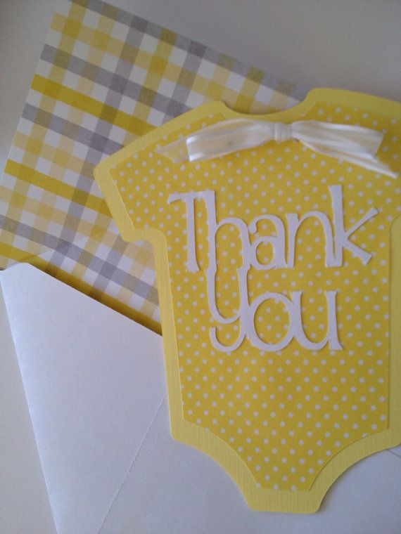 Baby Thank You Cards Set Of 6 Onesie By PaperStrip 1200