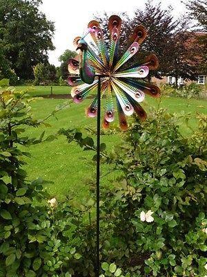 Inspirational Doppell ufiges Windrad Pfau Gartendeko Gartenstecker Windspiel Metall