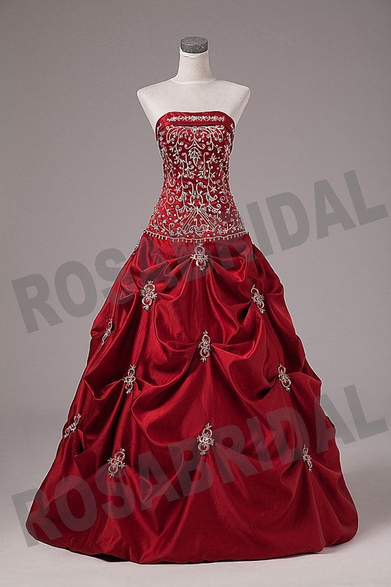 Embroidery Burgundy Quinceanera Dress Prom Dress Ball Gown Custom Size Color
