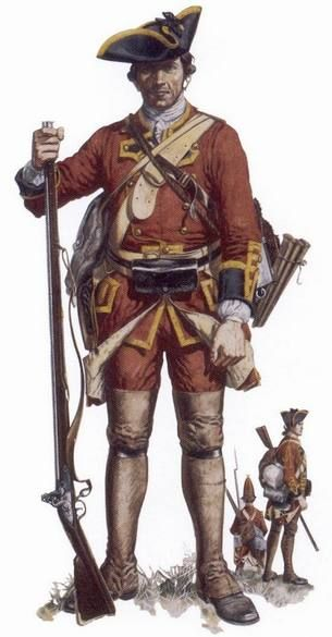 """Soldier of the 58th Regiment of Foot, 1757-1762 - """"The 58th Regiment of Foot was one of several British units sent to America in 1757 in preparation for the attack on Louisbourg. Although the siege did not begin until 1758, the regiment saw the capture of the fortress and was present at the capture of Quebec the following year. This soldier is shown in marching order, carrying his pack and haversack."""""""