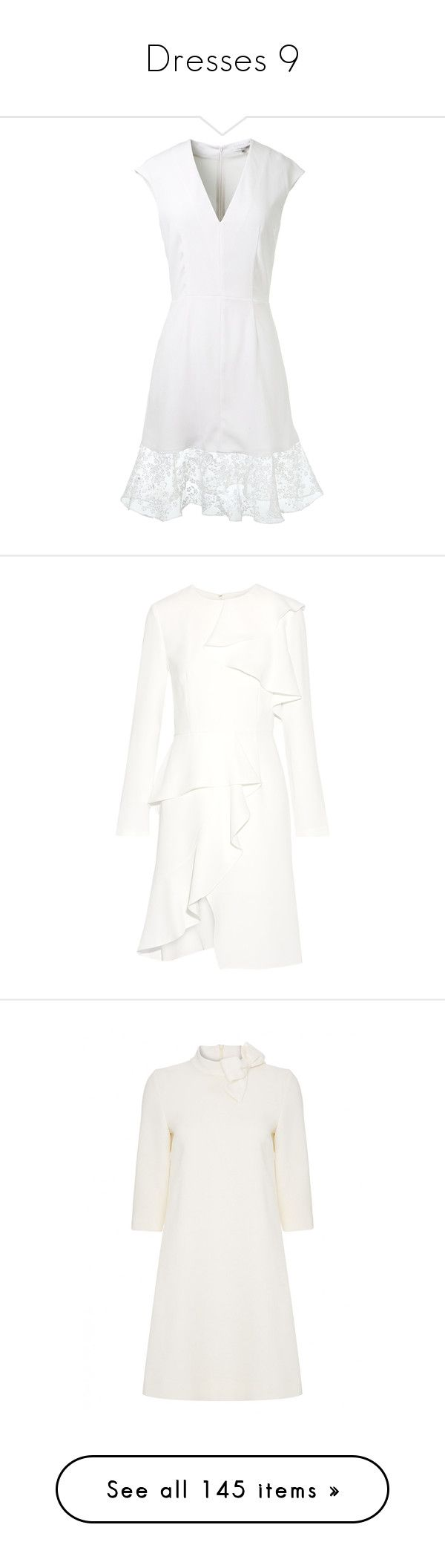 """""""Dresses 9"""" by royal-fashion ❤ liked on Polyvore featuring dresses, floral embroidered dress, white v neck dress, white see through dress, white sheer dress, sheer embroidered dress, ivory, ruffle dress, crepe dress and long sleeve dresses"""