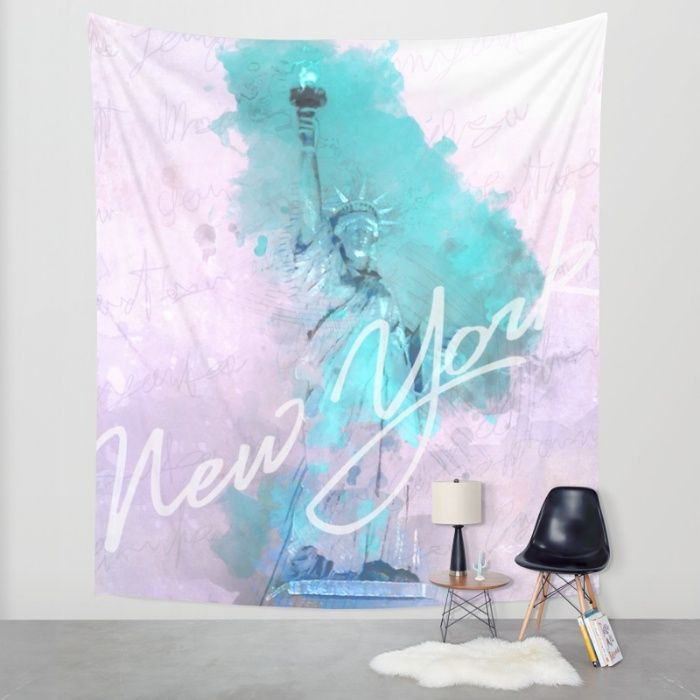 New York City - Statue of Liberty - Purple Wall Tapestry by Pentagonixmedia | Society6