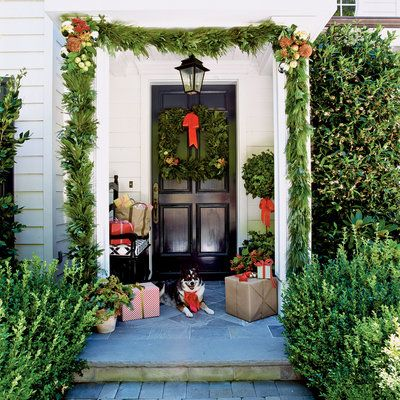 Enhance Your Entrance: A Front Entryway with Gifts and Greenery