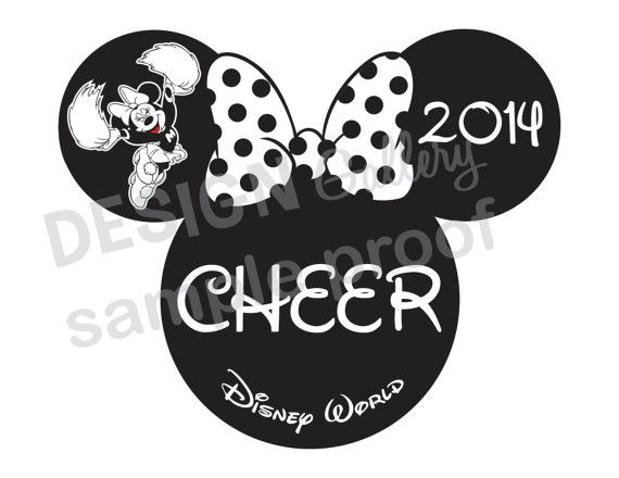 minnie mouse cheer design diy printable iron on t shirt transfer instant download cheerleading nationals disney