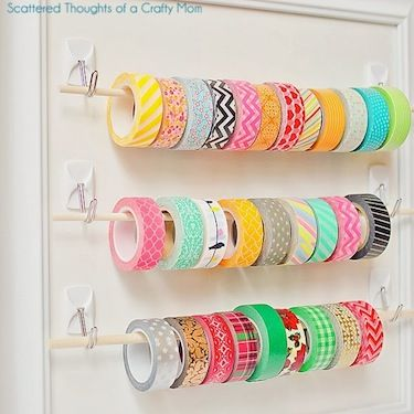 Washi Tape This brilliant storage keeps all your washi tapes sorted and visible using dowel rods and adhesive hooks.