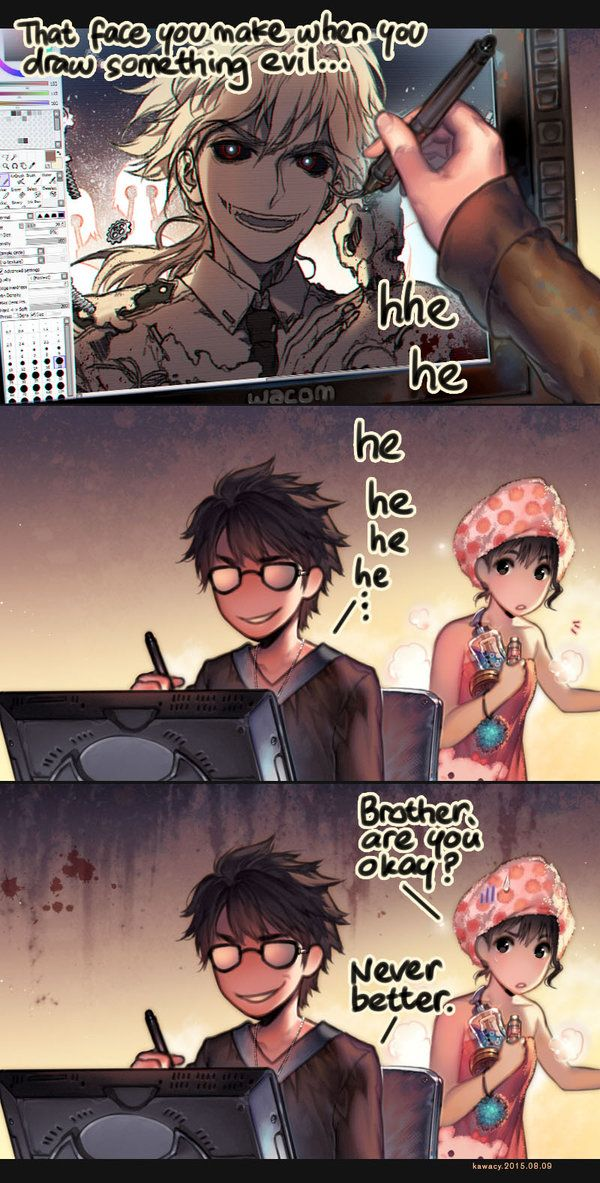 When drawing something evil.. by kawacy.deviantart.com on @DeviantArt - Do you also emote with your characters?