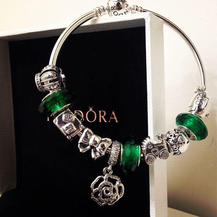50% OFF!!! $259 Pandora Bangle Charm Bracelet Green. Hot Sale!!! SKU: CB01934 - PANDORA Bracelet Ideas