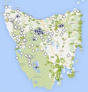 A map of fires burning in Tasmania
