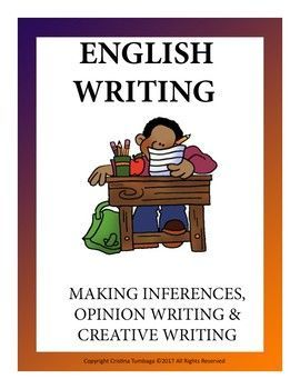 This bundle is all about english writing. It includes inspirational quotes to making writing inferences easy. 15 creative writing prompts for upper elementary students and opinion organisers to make opinion writing easy and fun.  You might also be interested in these products individually:  Inspirational Quotes: Making Inferences  Opinion Organizers: Opinion Writing  Creative Writing Prompts for Upper Elementary Students   ***If you are satisfied with our products or free downloads, please…