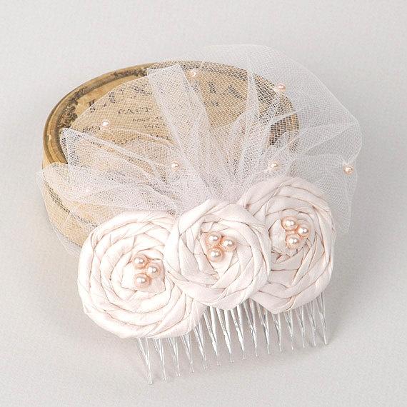 Blush Pink Wedding Hair Accessory Bridal Flower by VelvetTeacup, via Etsy.