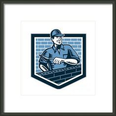 Brick Layer Mason Masonry Worker Retro Framed Print By Aloysius Patrimonio
