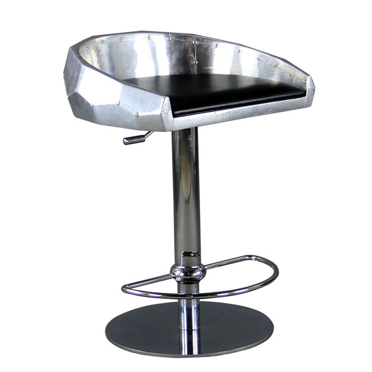 The Pilot Bar Stool echos aviation furniture made from aircraft parts. Using riveted aluminium sections that have been hand polished to a brushed finish, this high quality stool looks like it belongs within a WW2 Bomber. With a choice of faux or real vintage Italian leather, the stool is a perfect compliment to any kitchen, diner or bar. http://www.the-man-shed.com