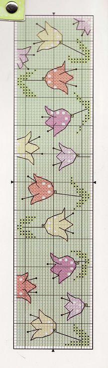 Tulipanes punto de cruz