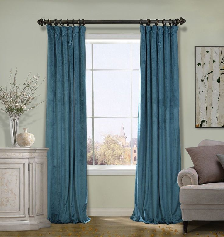 COFTY Solid Matt Luxury Heavyweight Velvet Curtain Drape with Blackout Thermal Lining Everglade Teal 100Wx120L Inch(1 Panel-doublewide ) - Flat Hooks Heading for Track