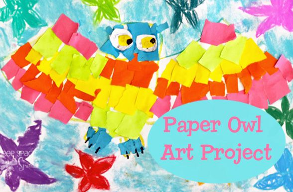 Create a colorful owl with torn paper and pastels. From DSS