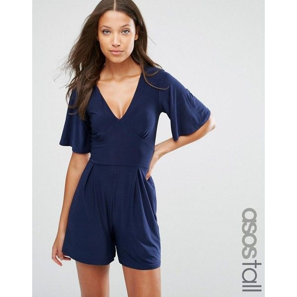 ASOS TALL Playsuit with Flutter Kimono Sleeve ($34) ❤ liked on Polyvore featuring jumpsuits, rompers, navy, blue romper, blue kimono, navy blue romper, navy romper and v neck romper