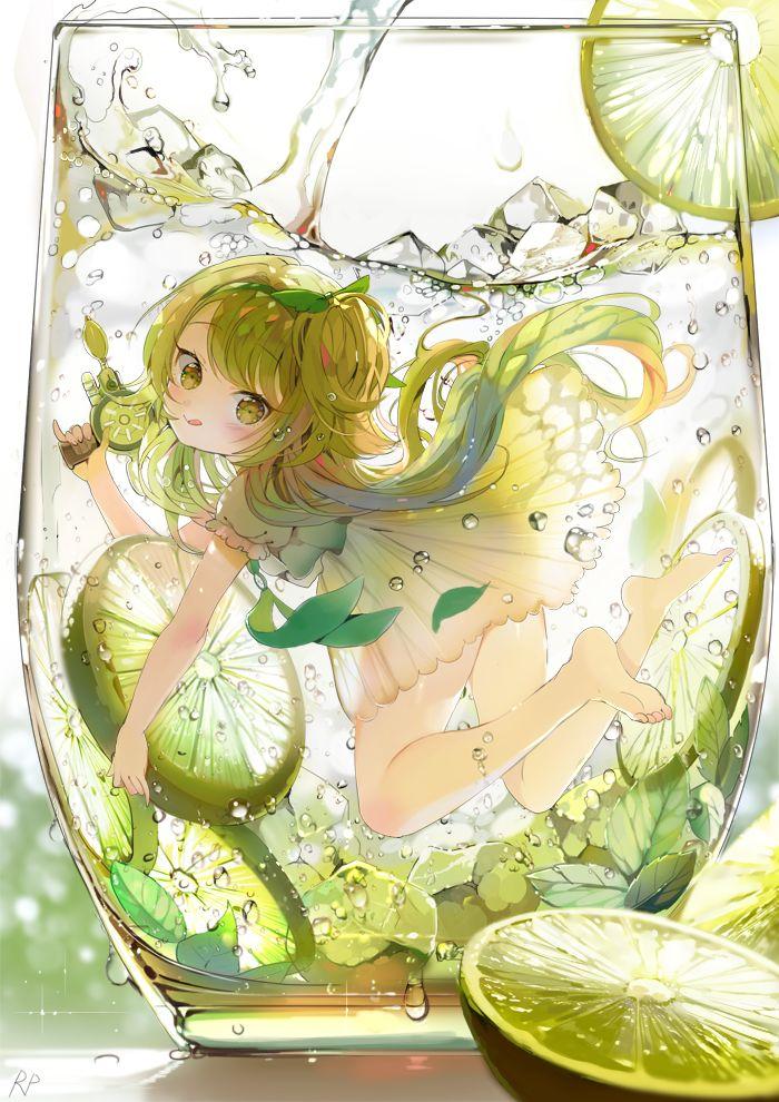 pixiv - บีมรั่ว สมหมาย anime girl * girl lemon in water glass