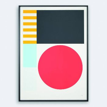 Tom Pigeon Play 1 Geometric 500x700 Print: Play is a pair of prints influenced by childhood building blocks, bold colour and playful pattern. Play 1 is an open-edition, signed and embossed, four-colour, B2 screen print on speckled heavyweight 200gsm Favini Corn Crush paper.  Tom Pigeon screen prints are hand-pulled using waterbased inks in a Glasgow print workshop .