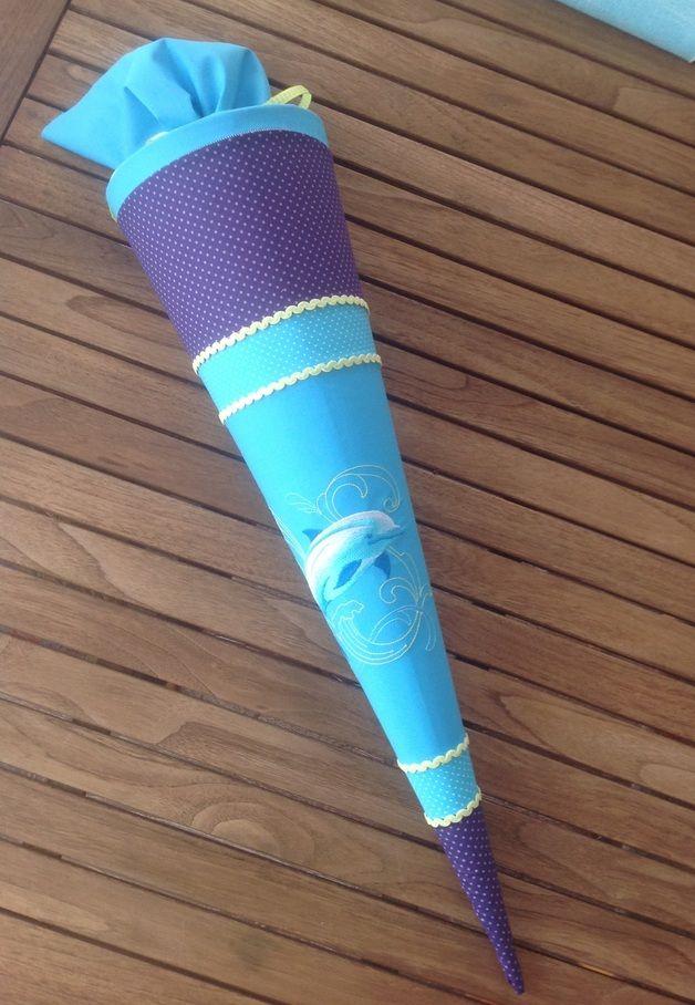 """Schultüten - Schultüte"""" Delfin"""" Stoff in lila, türkis - ein Designerstück von Geschenke-Wenke bei DaWanda"""