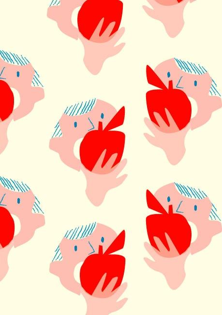 Eating Apples -Illustration by Rhona Garvin