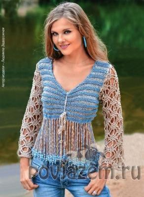 Вязаный пуловер в стиле «Хиппи»