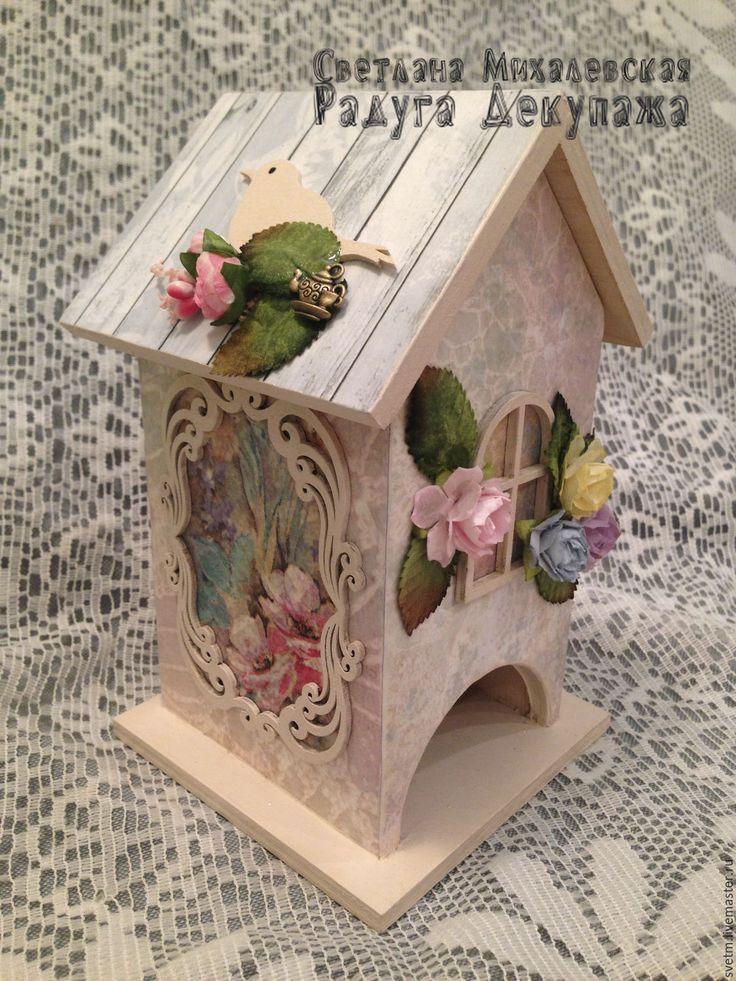 Купить чайный домик Английские Розы хранение чая декупаж - розовый серый голубой